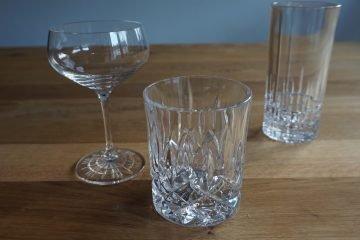 Cocktailgläser: Tumber, Longdrinkglas und Cocktailschale bzw. Coupette